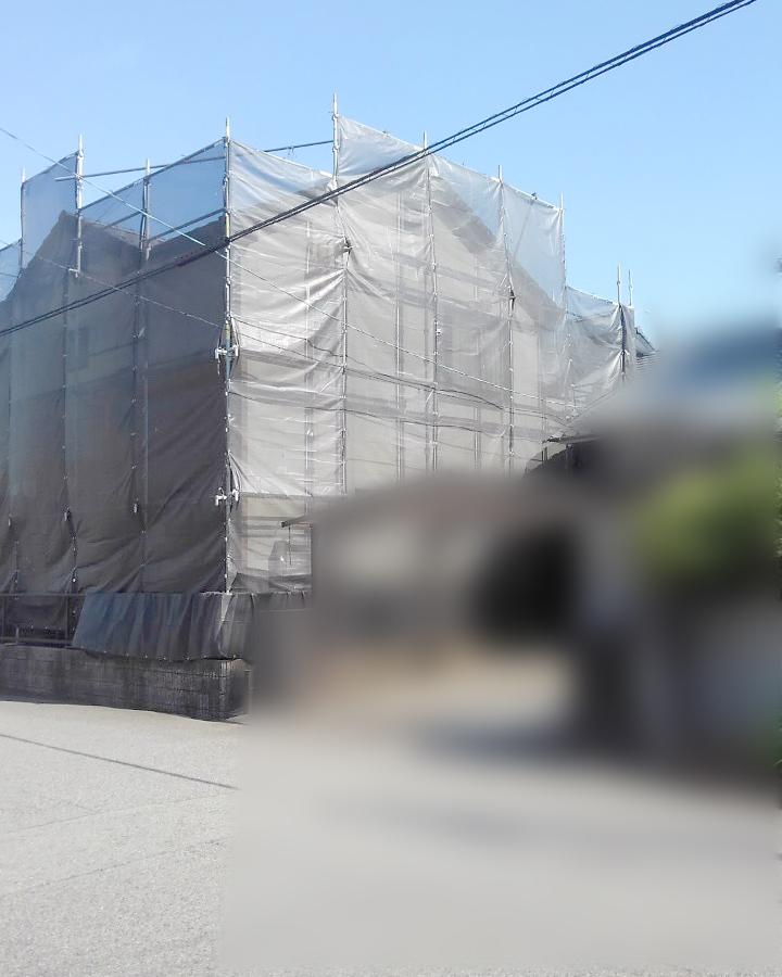 春日井市M様邸 足場組み完了1