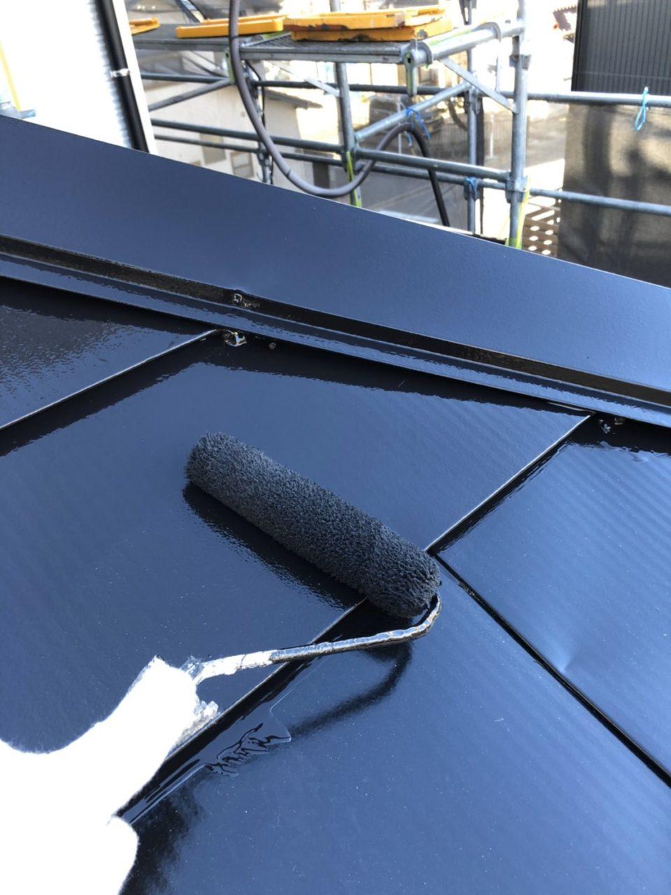 サイディング張り替え工事  屋根上塗り2